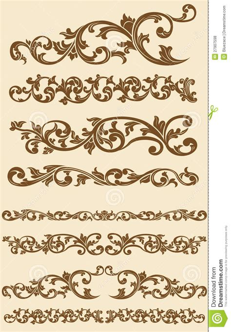 Eheringe Ornament by Javanese Vintage Floral Ornament Set 1 Stock Vector