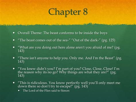 themes lord of the flies chapter 7 ppt lord of the flies theme chapters 7 9 powerpoint