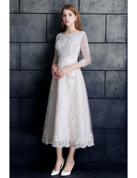 White Lien Wedding Dresses by Vintage Tea Length Wedding Dress 3 4 Sleeve Lace Tulle A