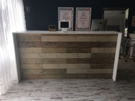 rustic reception desk the anthem 8 industrial rustic pallet wall look two
