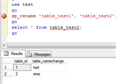 Alter Table Rename Column Name In Sql Server 2005 Change Sql Table Name