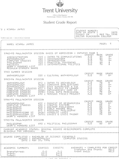 unofficial transcript template college transcript template out of darkness
