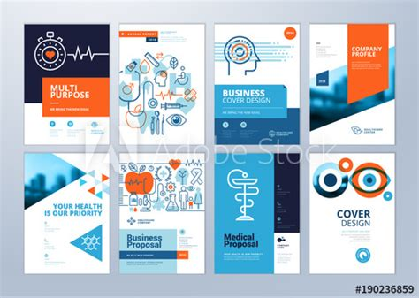 Set Of Medical Brochure Annual Report Flyer Design Templates In A4 Size Vector Illustrations Create A Document From The Report Design Template