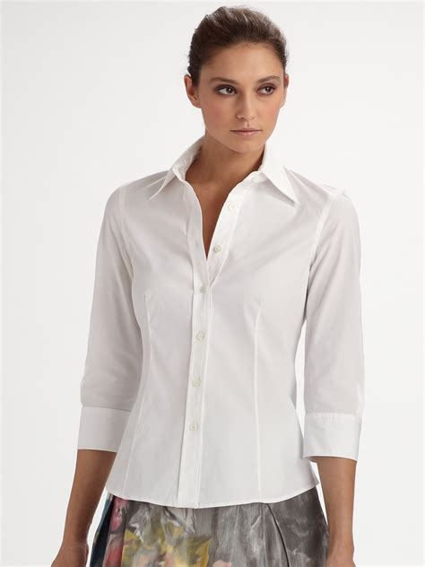 Whity Blouse carolina herrera threequarter sleeve blouse in white lyst