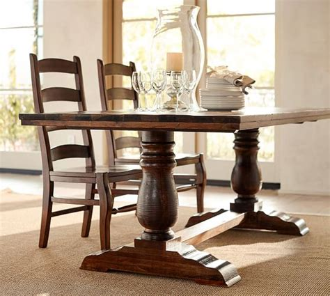 pottery barn dining tables bowry reclaimed wood fixed dining table pottery barn