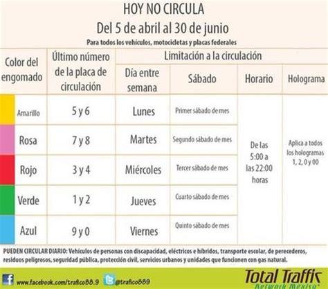 Calendario Hoy Calendario Hoy No Circula 5 De Abril Al 30 Junio