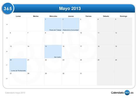 Calendario M Ayo Calendario Mayo 2013