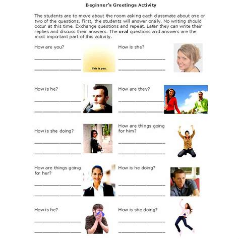 activities for activities that introduce beginners to friendly greetings