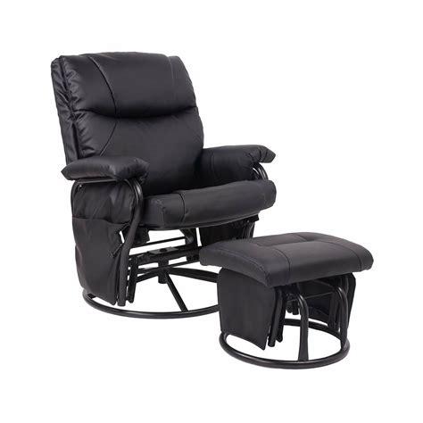merax ergonomic swivelgliderrocking recliner  ottoman