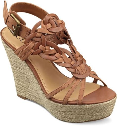guess lingley platform wedge sandals in brown combo