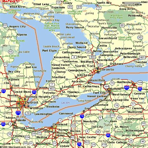 maps ontario directions image gallery southern ontario