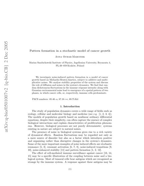 pattern formation research pattern formation in a stochastic model of cancer growth