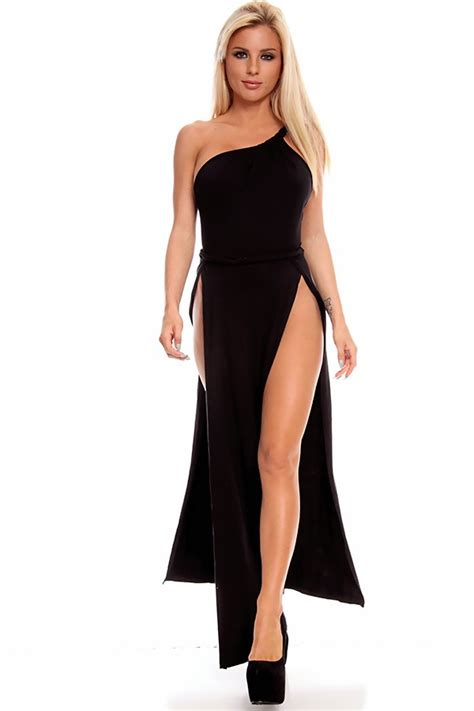 Slit L With by Black High Slit Sleeveless One Shoulder Toga Maxi Dress Maxi Dresses Sexi