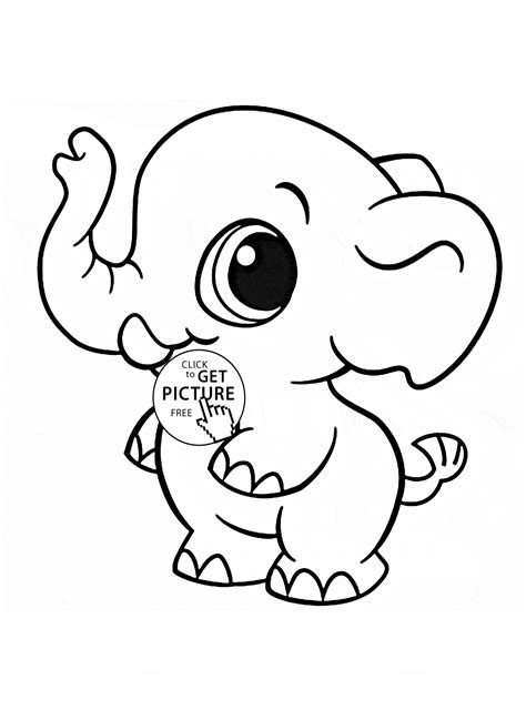 little elephant coloring page for kids animal coloring