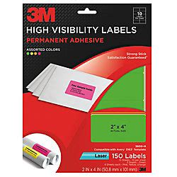 3m Permanent High Visibility Laser Labels Assorted Neon Colors 2 X 4 Pack Of 150 By Office Depot Avery 3m Templates