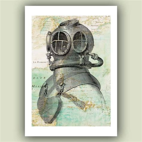 Diving Helmet Print Diver Poster - scuba diver helmet print 5x7 on antique map of east by
