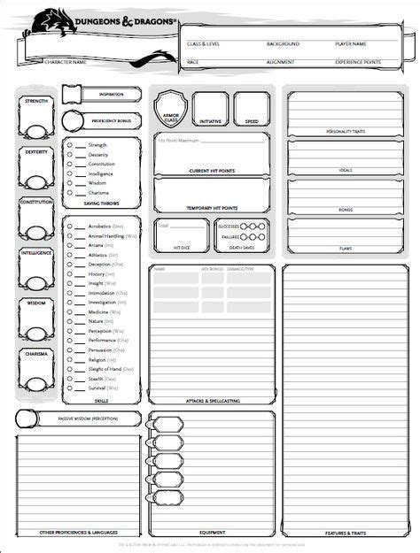 dnd 5th edition template 3x5 card dungeons and dragons character sheet 5th ed get it here
