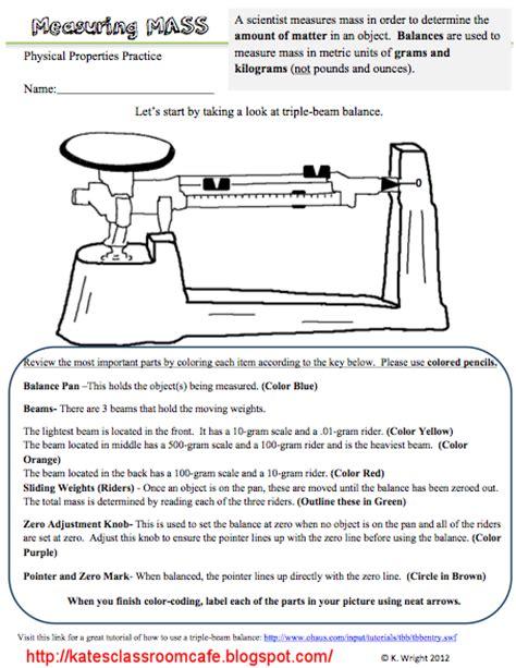 Measuring Mass Beam Balance Worksheet kate s science classroom cafe measuring mass worksheet