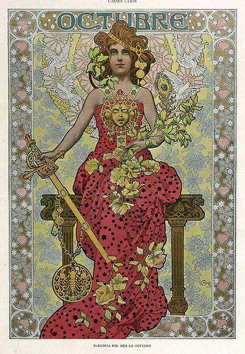 Calendario De 1901 Octubre Alegoria Meses A 241 O Revista 225 Lbum Sal 243 N 1901