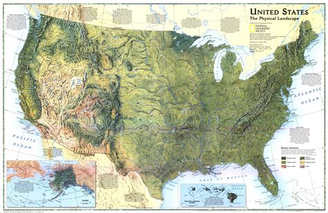 physical features of the united states map united states landscape map 1996 maps