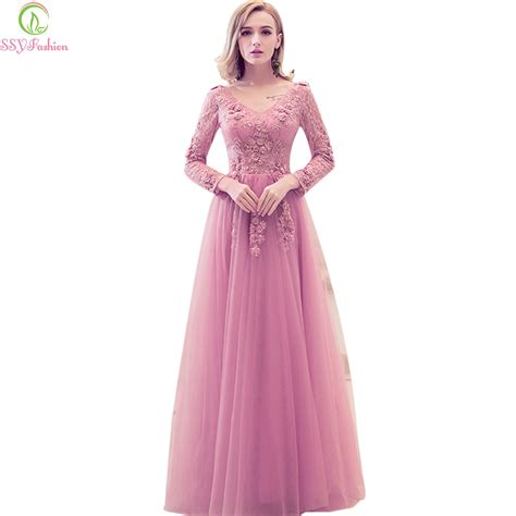 Dress Sweet Pink ssyfashion 2017 new evening dress sweet pink lace