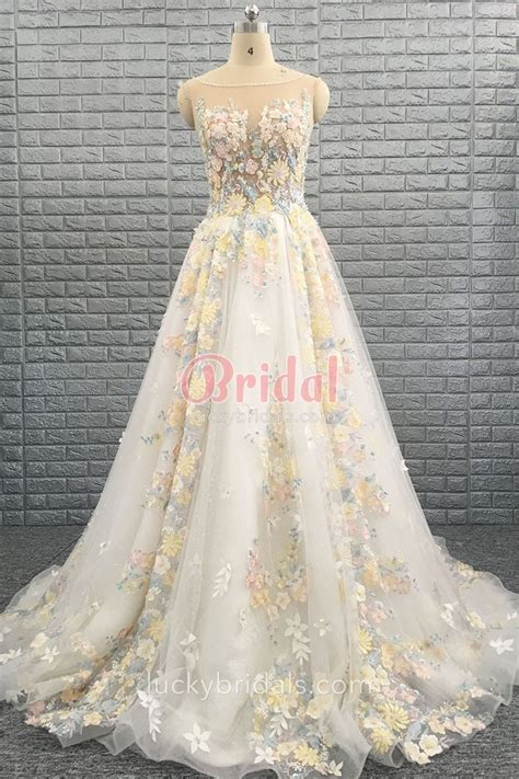 multi color wedding dress multi color 3d floral illusion tulle a line cathedral