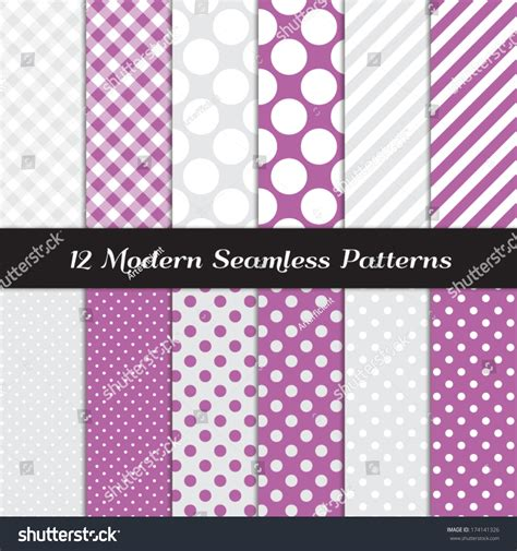 Seamless Patterns With Gingham Polka Dot Iphone Semua Hp purple white and gray jumbo polka dots gingham and stripes seamless patterns orchid color web