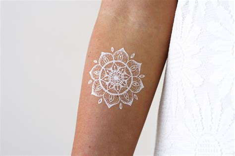 white temporary tattoo white mandala temporary tattoorary