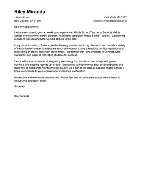 cover letter teacher template teacher cover letter examples for