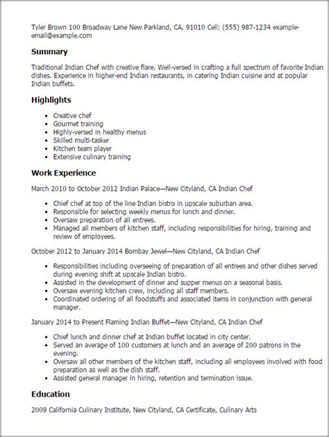 Resume Samples Pdf India by Professional Indian Chef Templates To Showcase Your Talent