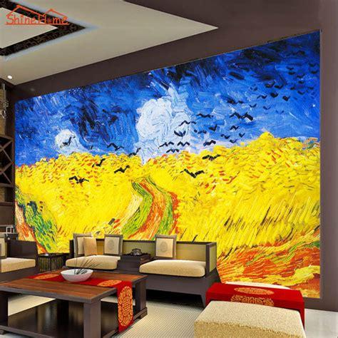large van gogh oil painting wheat field  crows  room