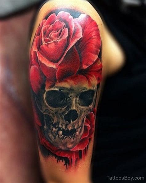 skull and rose half sleeve tattoos skull tattoos designs pictures page 14