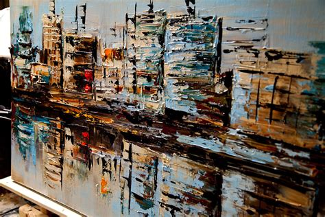 building painting painting city buildings reflected in water 6080