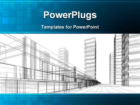 building a powerpoint template abstract 3d construction of office building white