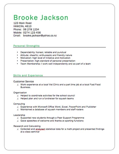 curriculum vitae layout nz cv exle real word ready