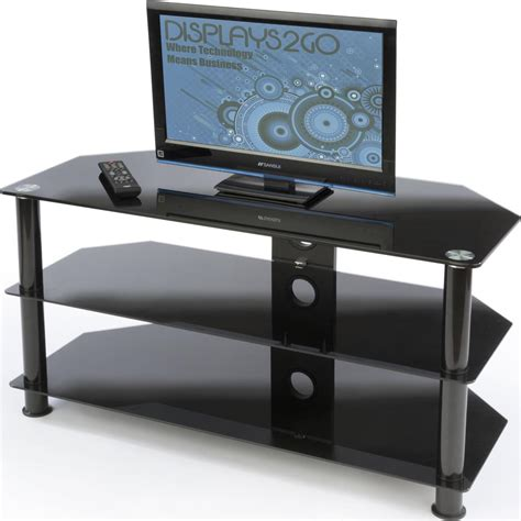 small glass tv stand holds up to 132lbs of electronics