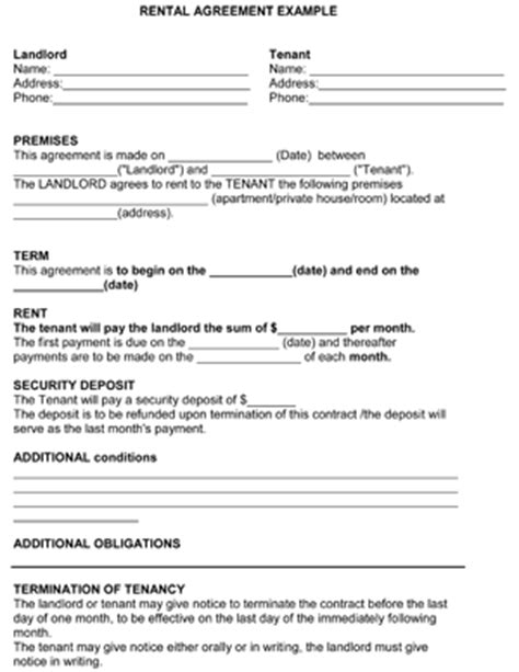 rental agreement template 8ws templates amp forms
