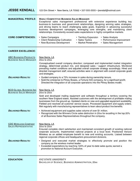 Comsec Manager Sle Resume by Business To Business Sales Resume Sle Great Free Resumes