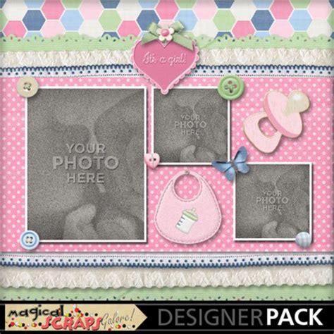 scrapbook templates baby digital scrapbooking kits welcome baby girl template