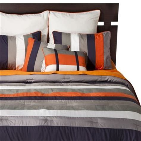 gray and orange comforter striped 8 piece bedding set navy orange kids