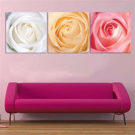 3 panel modern printed flower painting picture cuadros canvas wall pictures for living