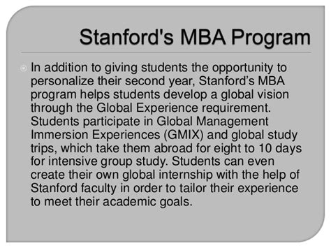 Mba Programs In Ri by Stanford S Mba Program Flexibility And Global Learning