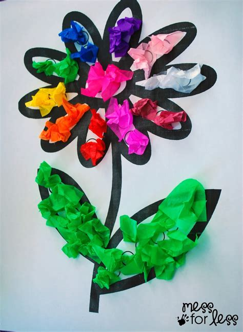 Flower Tissue Paper Craft - tissue paper flower activity mess for less