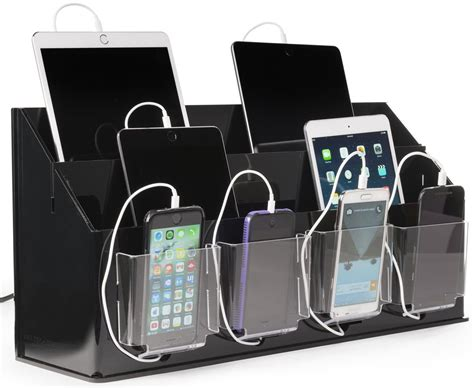 device charging station multi device charging station organizer black clear