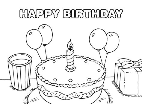 Printable Happy Birthday Coloring Pages Coloring Me Happy Birthday Color Pages