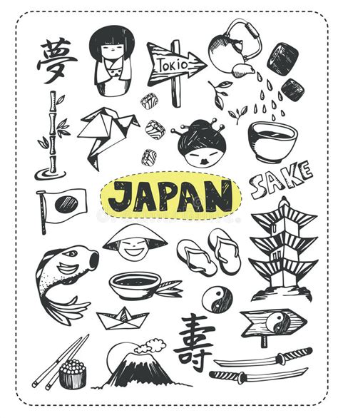doodle japan doodle set of japan stock vector illustration of