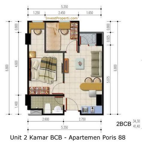 layout apartemen kalibata city unit 2 kamar bcb apartemen poris 88