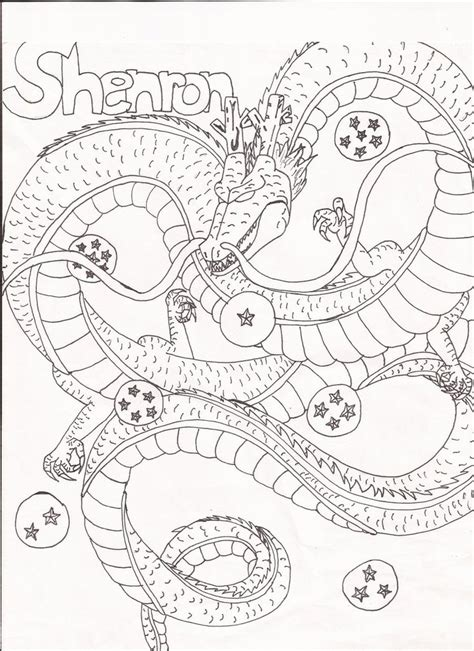dragon ball z shenron coloring pages shenron and 7 dragon balls by day week on deviantart