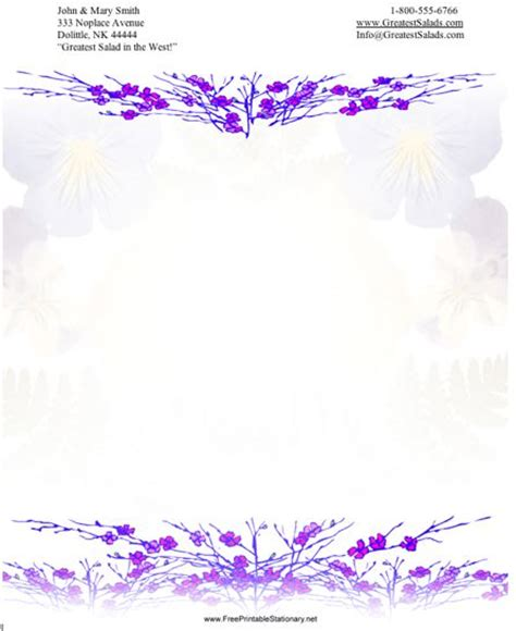 free printable unlined stationery flowers 2 stationery