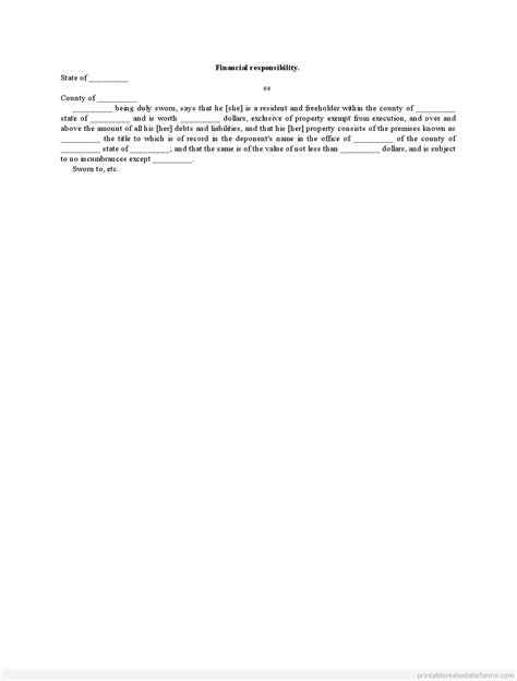 Financial Responsibility Letter Template Free Printable Financial Responsibility Forms Sle